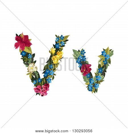 V letter. Flower capital alphabet. Colorful font. Uppercase and lowercase. Vector illustration. Grotesque style. Floral alphabet.