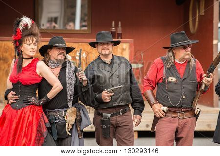 CODY - USA - AUGUST 21 2012 - Western Gunfight in the Streets of Cody Wyoming