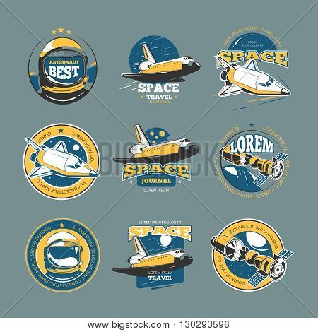 Vintage space and astronaut vector colored badges, emblems, logos, labels. Rocket space emblem, and shuttle space flight and travel illustration