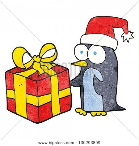 freehand drawn texture cartoon christmas penguin with present