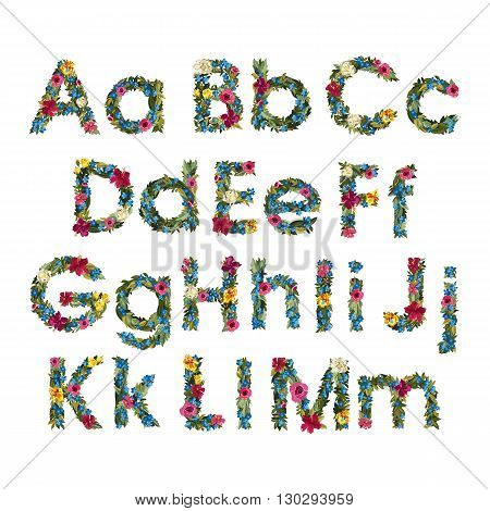 Floral Letters. Flower Capital Uppercase and Lowercase Alphabet . Colorful font. Vector illustration. Grotesque style. Floral alphabet.