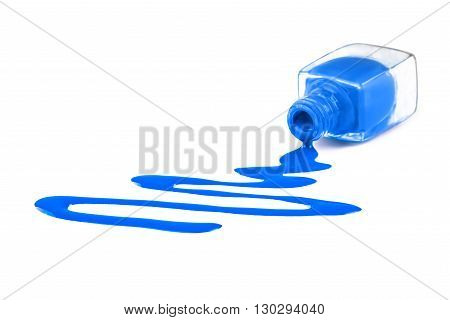 Blue nail polish isolated on a white background