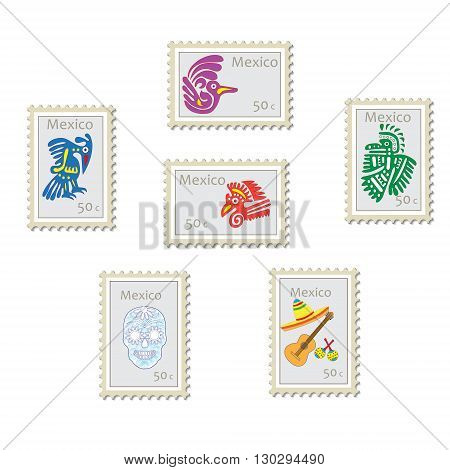 Set of vector postage stamps with symbols and signs of Mexico