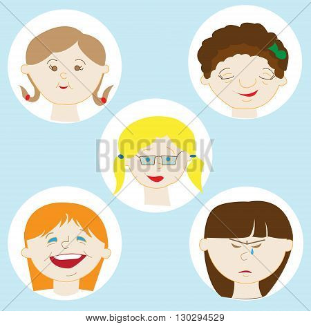 Illustration Featuring Kids Showing Different Facial Expressions