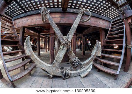 Pirate Ship Wood Porthole Detail