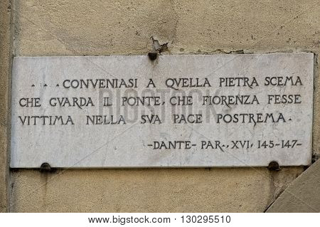 Florence Ponte Vecchio Dante Alighieri Sign
