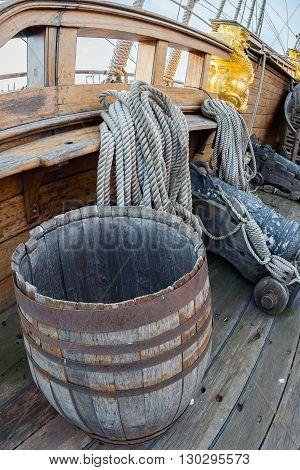 Barrel On Pirate Vessel Deck