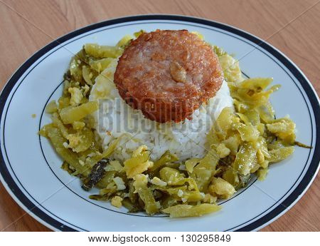 deep fried minced pork and stir-fried pickle cabbage with egg