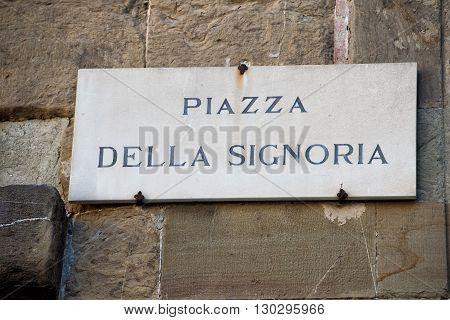 piazza della signoria sign in florence close