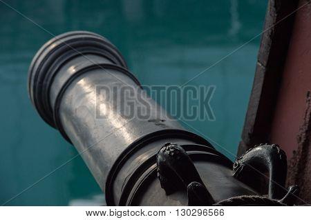 Iron Cannon On Sail Ship