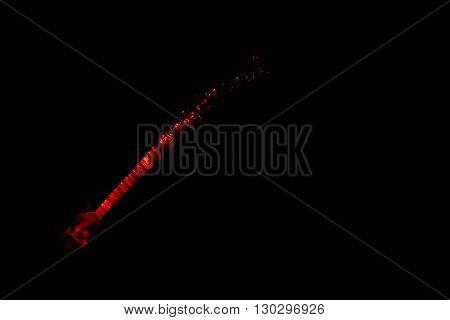 Illuminated Fiber Optics Glowing On The Black Background