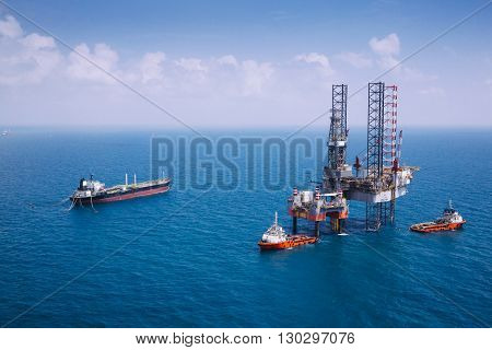 Offshore oil rig drilling platform in the gulf