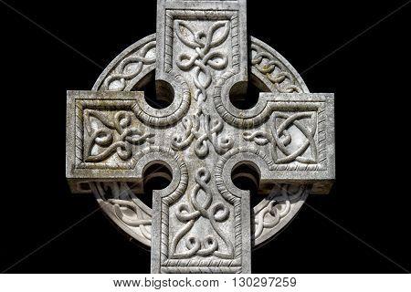 Celtic Cross Cemetery On Black