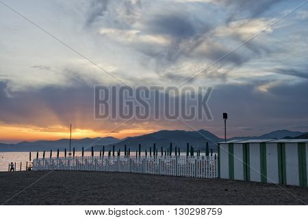 Sestri Levante Beach At Sunset