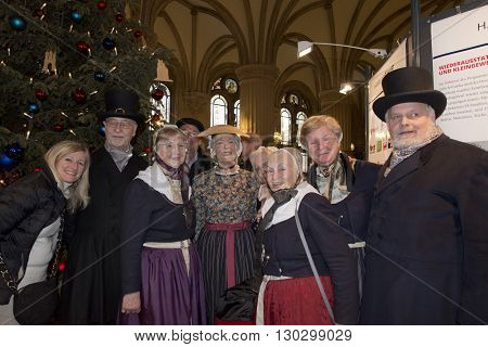 Hamburg - Germany - January 1, 2015 - Christmas Tree And People Singing In Rathaus