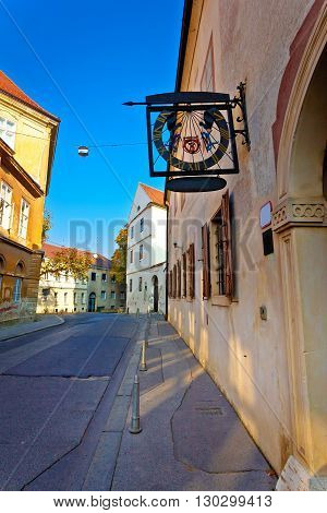 Old street of Zagreb upper town vertical view capital of Croatia