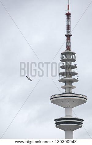 hamburg communication tower on sky background detail