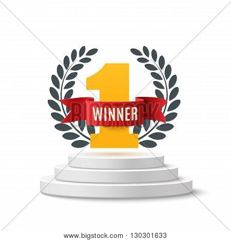 Winner, number one background with red ribbon and olive branch on round pedestal isolated on white. Red winner ribbon. Winner concept, poster or brochure template. Vector illustration.
