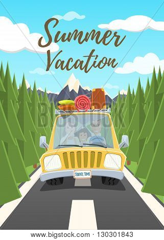 Summer vacation poster. Happy family traveling in the car. Vector illustration.