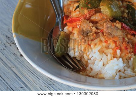 Close Up Curry Over Rice