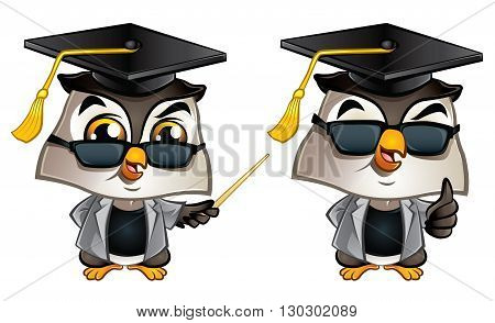 Illustration of cute Professor Owl with dark glasses