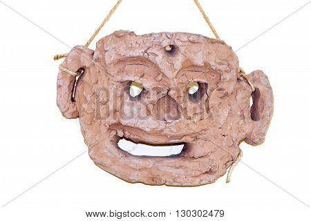 Terracotta earthenware greek tragedy style mask close