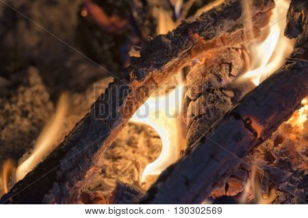 Wood Flames On Fire Place And Black Background