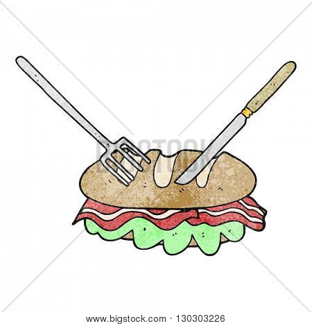 freehand drawn texture cartoon knife and fork cutting huge sandwich