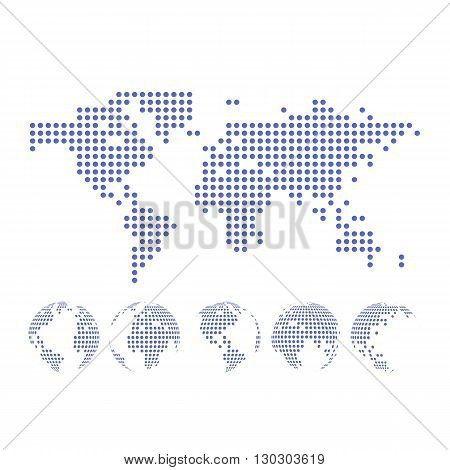 Vector dotted Map and Globe of the World.