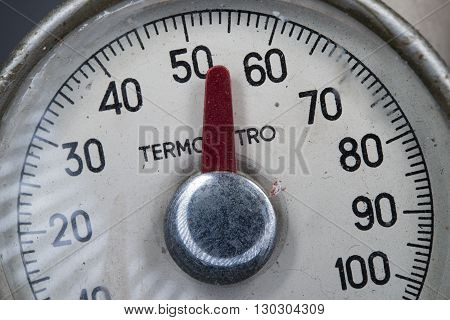 Vintage thermometer celsius view close up detail