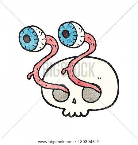 gross freehand drawn texture cartoon skull with eyeballs