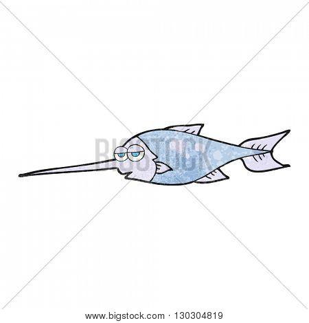 freehand drawn texture cartoon swordfish