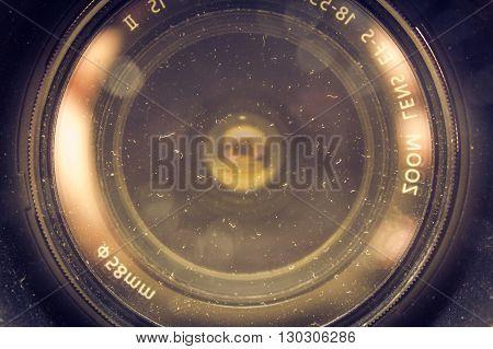 Close up shot to dusty camera lens