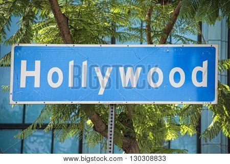 Los Angeles Hollywood Boulevard street sign detail