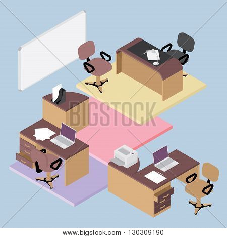 Collection of office furniture, flat isometric office room interior businessmen concept vector set