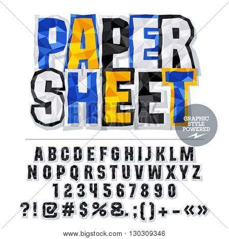 Vector colorful crumpled paper alphabet letters, numbers and punctuation symbols. Bright logo with text Paper sheet