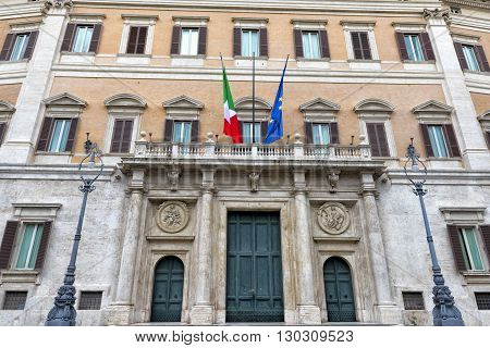 Montecitorio Palace Place And Obelisk View