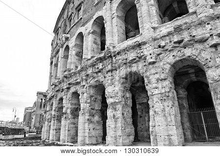 Theater teatro marcello in Rome in b&w