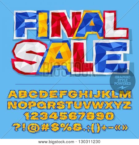 Vector colorful crumpled paper alphabet letters, numbers and punctuation symbols. Bright badge with text Final sale