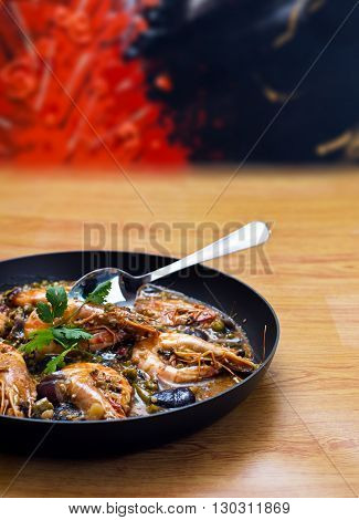 Thai spicy australian tiger prawn with eggplant