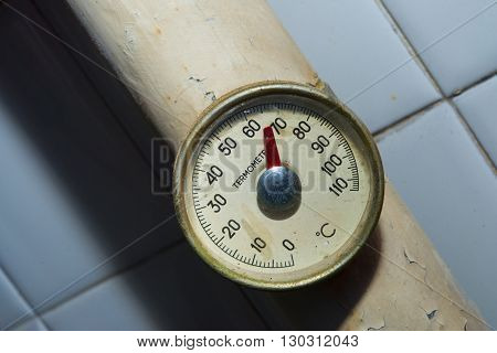 Vintage thermometer celsius  close up detail view