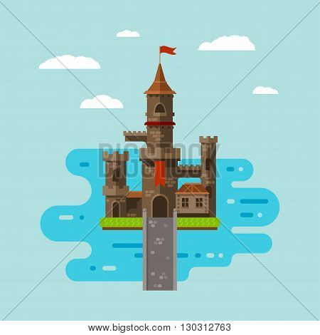 flat castle art abstract medieval kids background