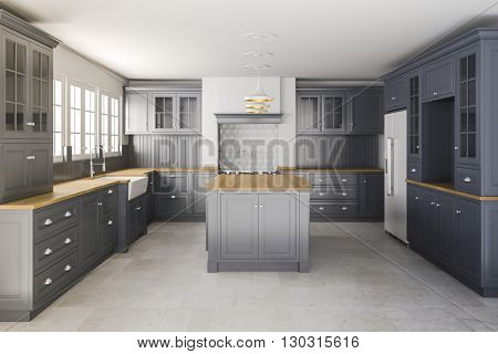 3d render of beautiful classic kitchen interior