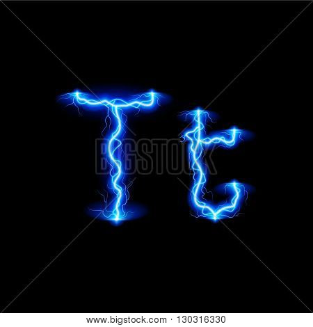 Uppercase and lowercase letters T in lighting style