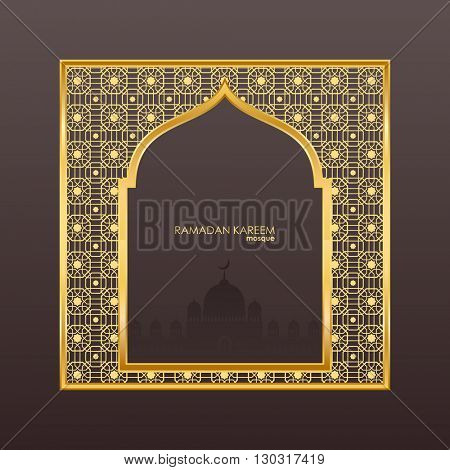 Ramadan Kareem celebrations. Ramadan greetings background. Islamic holy month of prayers. vector holiday illustration of gold Ramadan Kareem label. Composition muslim holy month with mosque