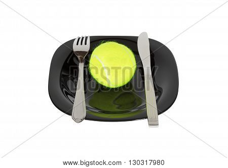Joke. Tennis ball on a platter with a fork and knife.