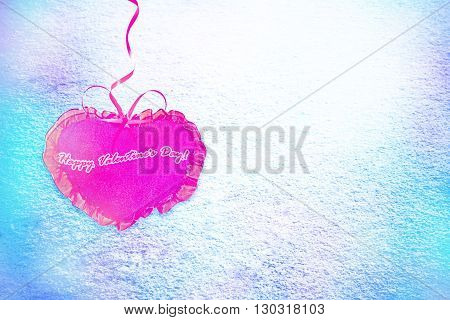 Background from snow. Heart. Valentine's day. card