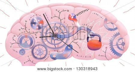 The illustration of a brain representing metaphor of delayed information