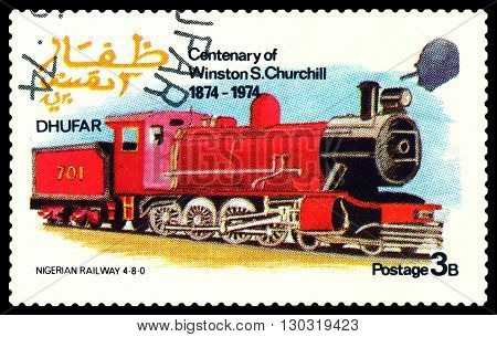 STAVROPOL RUSSIA - MARCH 30 2016: A Stamp printed in the Dhufar shows Old steam locomotive Nigerian Railway 4-8-0 stamp devoted to the Centenary of Winston S. Churchill circa 1974