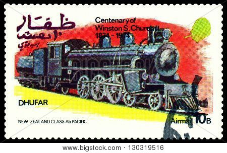 STAVROPOL RUSSIA - MARCH 30 2016: A Stamp printed in the Dhufar shows Old steam locomotive Nev Zealand Class Ab Pasific stamp devoted to the Centenary of Winston S. Churchill circa 1974